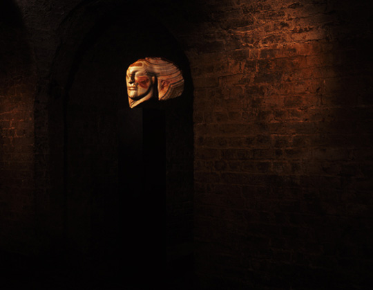 Emily Young in the Crypt at Saint Pancras New Church